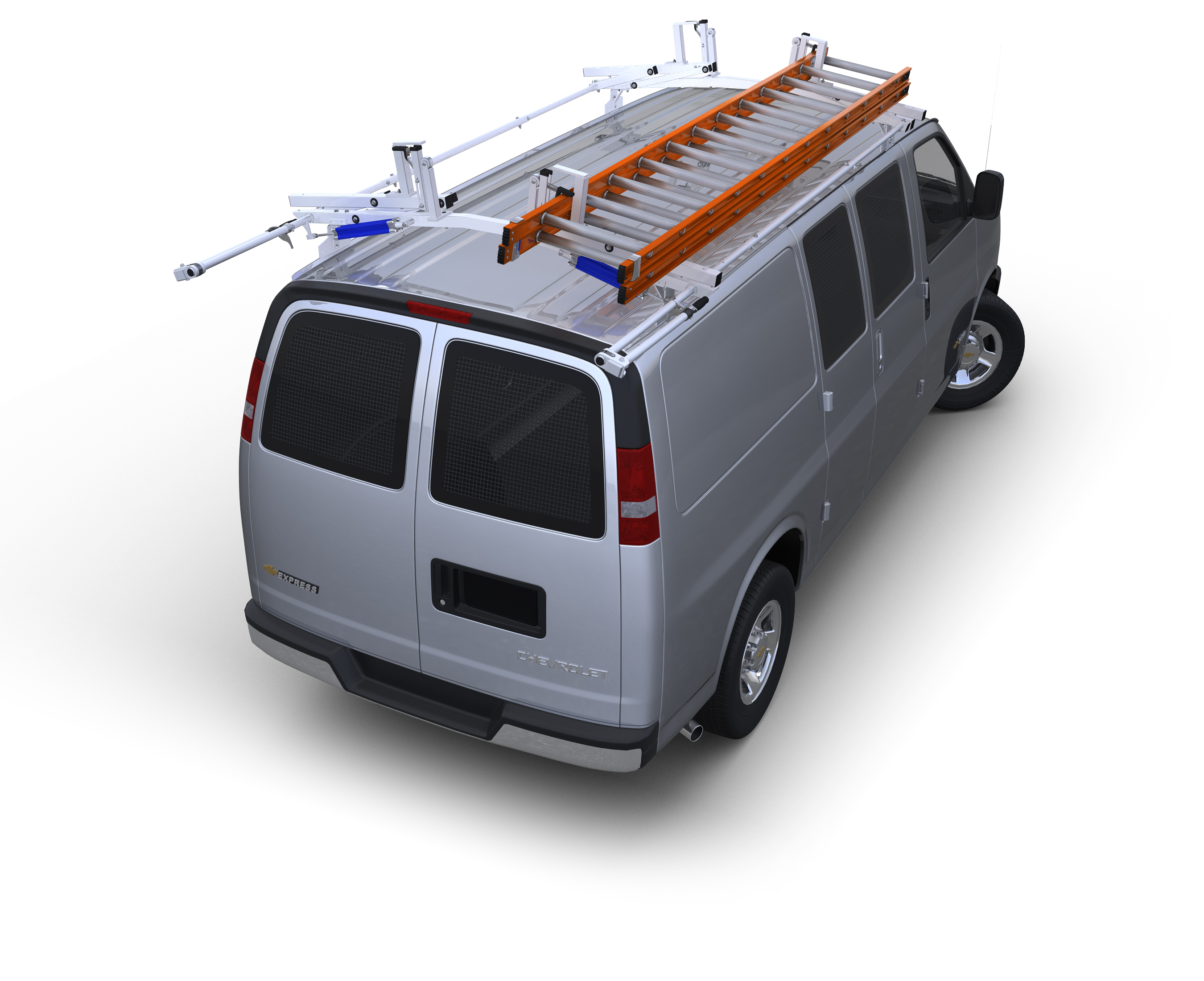 "Chevy City Express & Nissan NV200 Aluminum Contour Shelving, 32"" wide for use over Wheelwells"