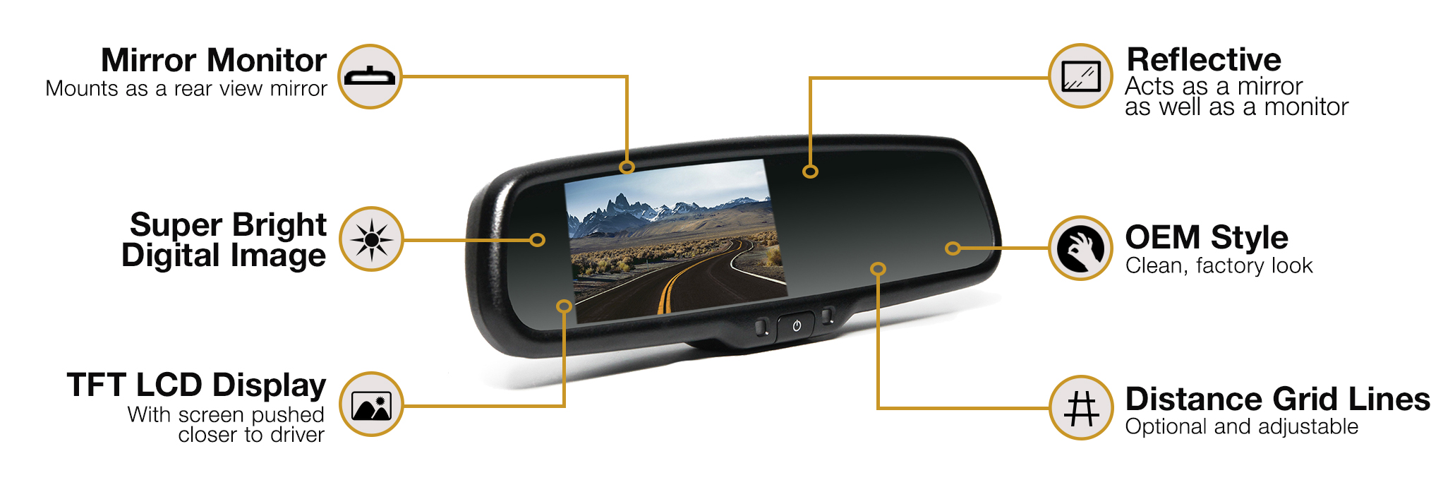 Rear View Safety RVS-770718 Backup Camera System With Replacement Mirror Monitor