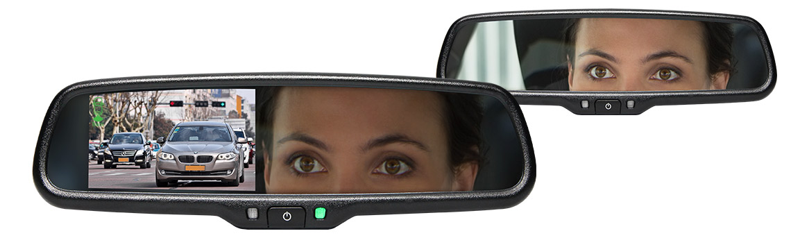 G-SERIES Rear View Replacement Mirror Monitor with Built-In Dash Camera RVS-718-BB
