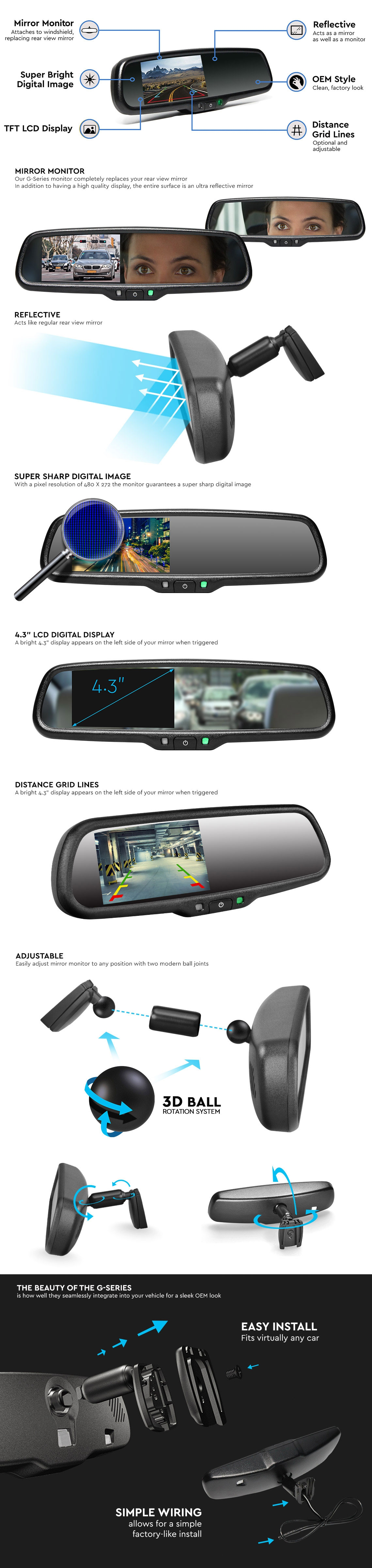 RVS-718 G-Series Rear View Replacement Mirror Monitor