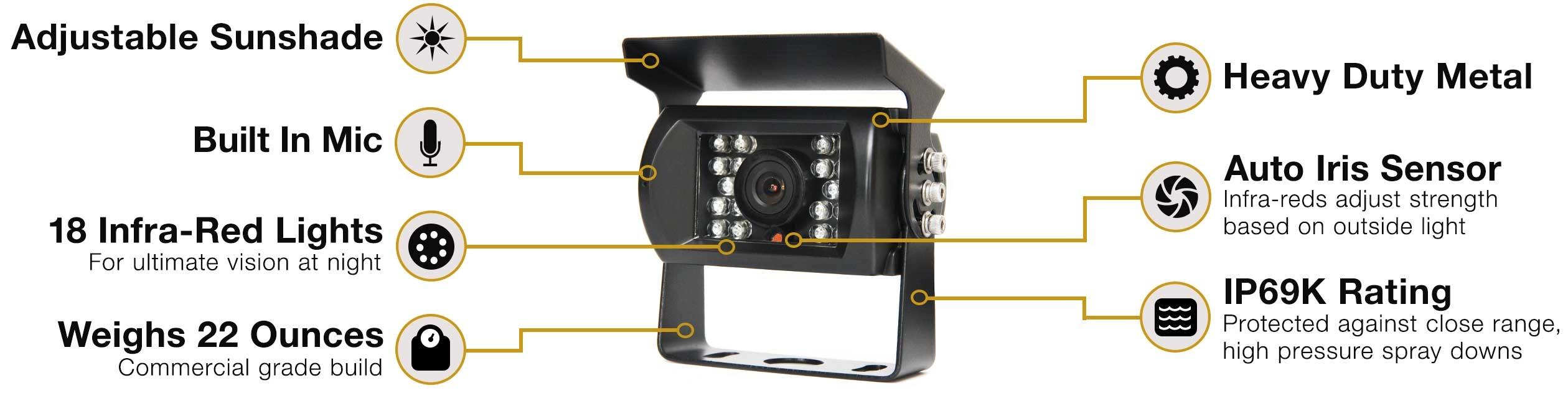 RVS-770 130° Backup Camera with 18 Infra-Red Illuminators